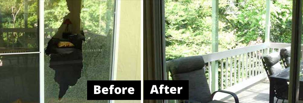 Smashed Glass Door Repair Belgrave 3160 before and after